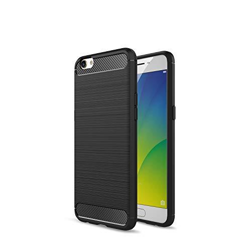 Kompatibel mit Oppo R9s R9s Plus/F3 Plus Hülle Carbon Fiber Textur Tasche Schutzhülle Ultra Dünn Slim Silikon Soft Flexibel TPU Cover Cases Stoßdämpfung Handyhülle (R9s Plus/F3 Plus, Schwarz)