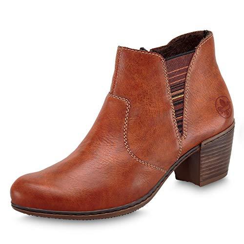 Rieker Damen Stiefeletten, Frauen Ankle Boots, Stiefel halbstiefel Bootie knöchelhoch reißverschluss weiblich,Zimt,36 EU / 3.5 UK