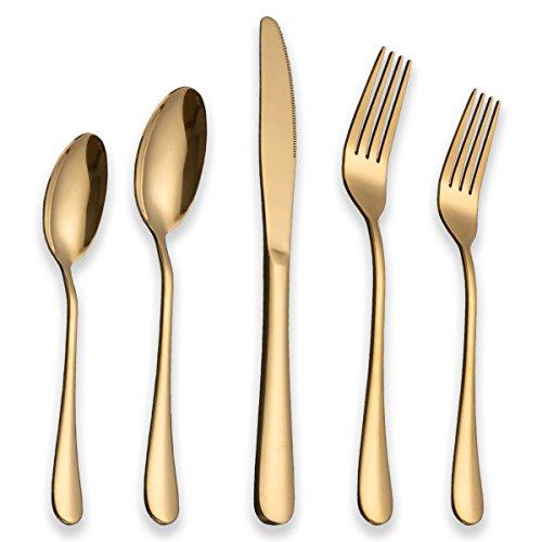 Berglander Flatware Set 20 Piece, Stainless Steel With Titanium Gold Plated