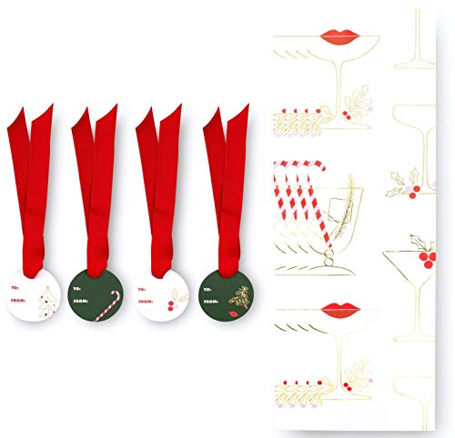 Kate Spade New York Holiday Wine Gift Bag Set of 4 with Ribbon Ties and Tags, Gift Bags Hold Standard Bottle of Wine, Holiday Cocktails + Lips