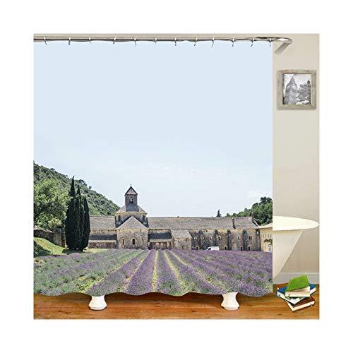 KnBoB Rideau de Baignoire Anti Moisissure Champs de Lavande Rideaux Baignoire Rideaux Douche avec Crochets Multicolore 150X180CM