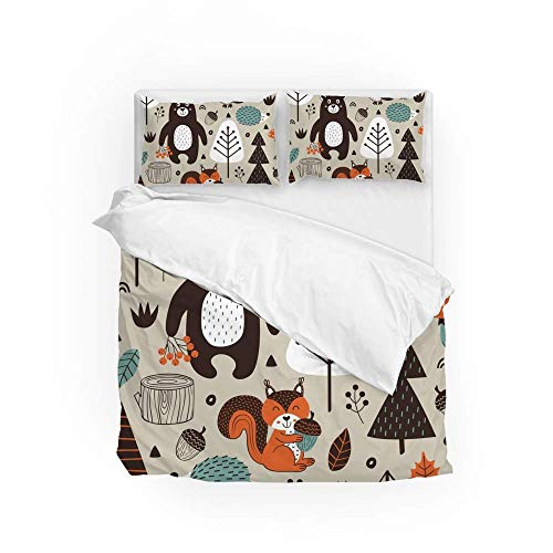161 Soft Quilt Bedding Set Tribal Forest Animals Duvet Cover with 2 Pillowcases Set 3 Pieces 230 x 220 CM, King