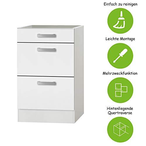 MMR Auszug-Unterschrank Küche DALLAS, ohne Arbeitsplatte, 1 Schublade, 2 Auszüge, 50 cm breit, Weiß