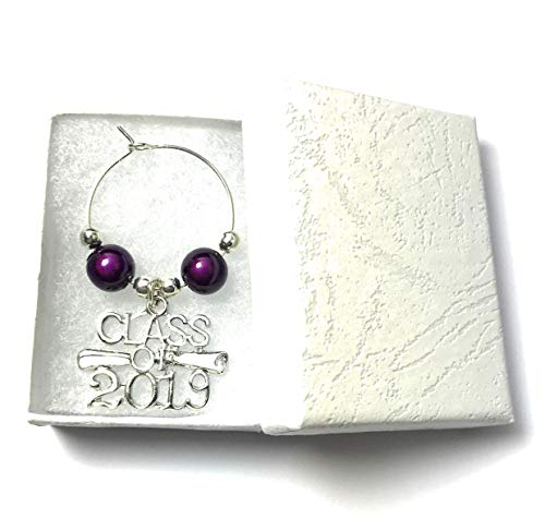 Libby's Market Place Class of 2019 Graduation Glass Charm with Gift Box and Graduation Gift Card