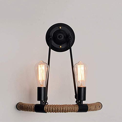 YANQING Duurzame Amerikaanse Country Retro Wandlamp Smeedijzeren Touw Verlichting Lamp Diameter 40cm Hoog 43cm3-10 Vierkante Meters Slaapkamer Eetkamer Bar Cafe