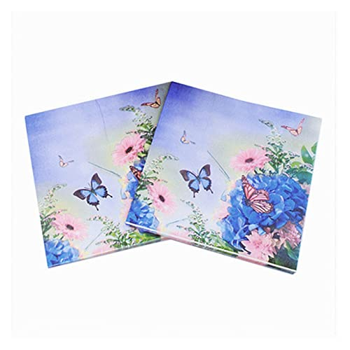 servilletas de papel 20pcs / bolsa de bolsas papel azul mariposa decoupage servilleta papel tejido de papel para la decoración de la boda de Navidad Mesa de fiesta Suministros al por mayor servilletas