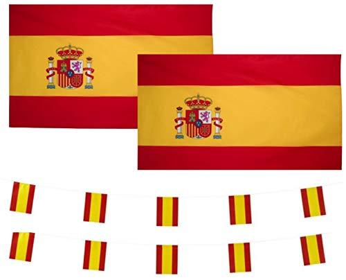 FL4 2 banderas de España y banderines de 10 m Bandera de españa Guirnalda Bandera de españa bandera de cadena española Bandera española Bandera de guirnalda de España 90 x 150 cms