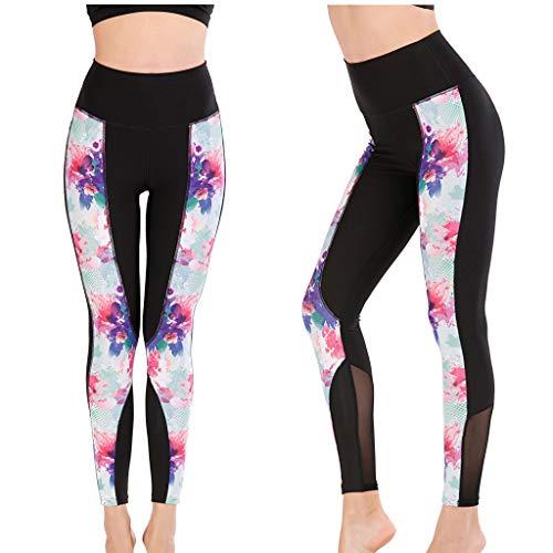 BAULMD Frauen Fitness Workout Leggings Yoga Hose,High Waist Soft Athletic Tummy Damen Stretch Hose Lange Ladies Aus Baumwolle Cutted Knee spleißen Streifen Sport Gym Laufen Leggings Sportswear