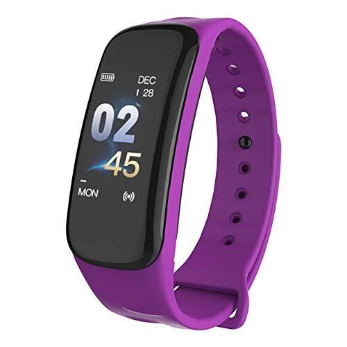 ZXCVBW Fitness Tracker Watch C1 Plus Smart Band Monitor de frecuencia cardíaca Resistente al Agua Presión Arterial Smart Band Health Pulsera Pulsera Inteligente, púrpura