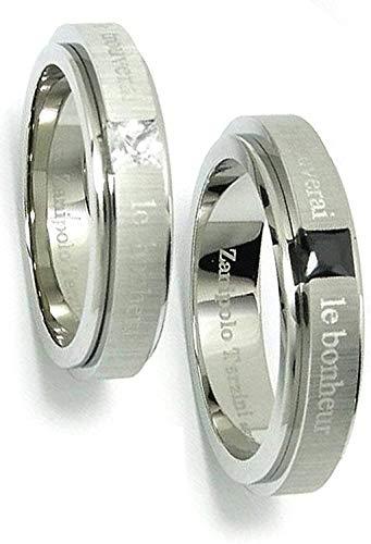 [ザニポロタルツィーニ] Zanipolo Terzini [刻印無料] ジルコニアマットライン ステンレス ペアリング (レディース13号とメンズ19号) 指輪