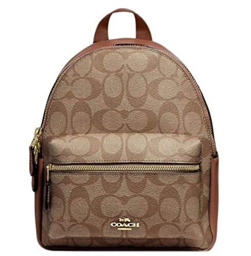 Mini Charlie Backpack in Signature Canvas Khaki Saddle 2 Brown