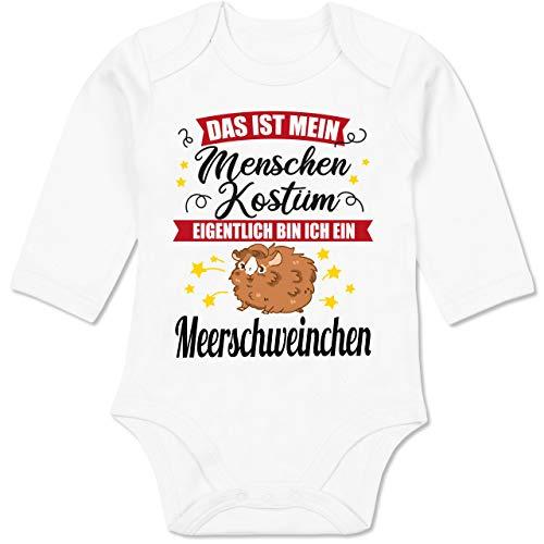 Shirtracer Karneval und Fasching Baby - Das ist Mein Menschen Kostüm Eigentlich Bin ich EIN Meerschweinchen - schwarz - 3/6 Monate - Weiß - kostüm Baby - BZ30 - Baby Body Langarm