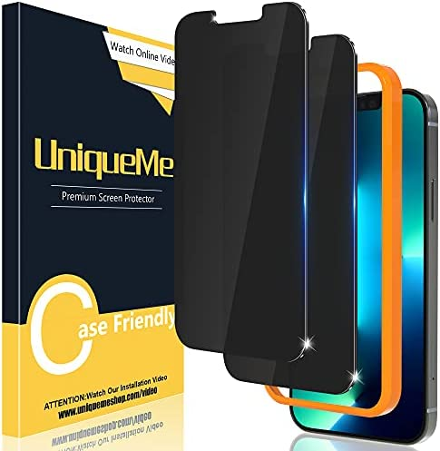 Photo of [2 Pack] UniqueMe Compatible with iPhone 13 Pro Max 6.7 inch Privacy Screen Protector Tempered Glass Anti Spy [Easy Installation Frame] HD Clear [Anti-Scratch] [Bubble Free]