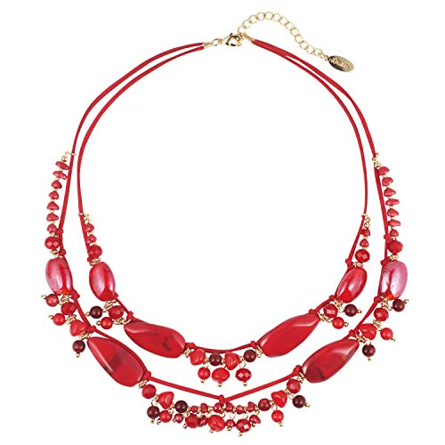 Bocar 2 Layer Statement Pendant Necklace Strand Beaded 22.5' Necklace for Women (NK-10538=Red)