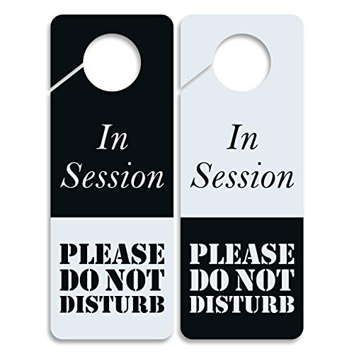 Do Not Disturb Sign -In Session, Door Hanger 2 Pack, Double Sided, Ideal for using in any places like Offices, Clinics, Law Firms, Hotels or during Therapy, Massage, Spa Treatment, Counseling Sessions