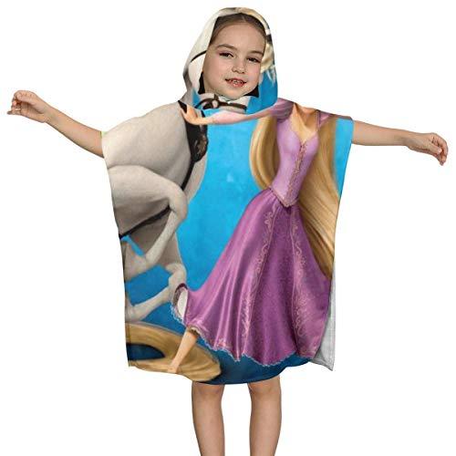 IUBBKI Tangled Rapunzel - Toalla de baño con Capucha para niños, Suave, Ultra Playa, con Capucha, con Capucha, Toalla, Poncho, Capa, Traje de baño para la Piscina de la Playa