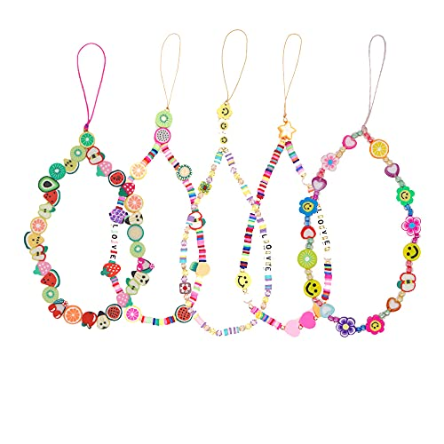 Yagerod 5Pcs Beaded Phone Lanyard Wrist Strap, Smiley Face Beaded Phone Charm, Fruit Star Pearl Rainbow Color Beaded Phone Chain Strap for Women Girl