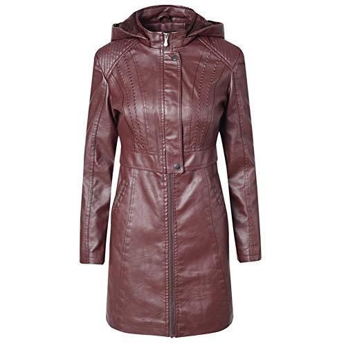 KangJiaoNanG vrouwen revers zakken katoen PU lederen jas mantel lange deel van motorkleding paars pailletten hoge school