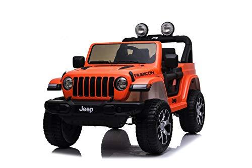 TOYSCAR electronic way to drive Auto Macchina Elettrica Jeep Wrangler Rubicon 12V per Bambini Porte apribili con Telecomando Full Accessori (Orange)
