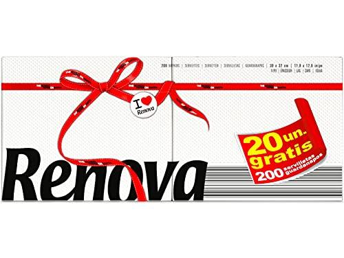 Renova Servilletas de Papel Red Label, 200 Servilletas Blancas, Tamaño Estándar