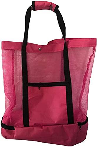 Bolso de picnic para mujer, compartimento para refrigerador de malla, bolso de playa cerrado con cremallera de gran tamaño