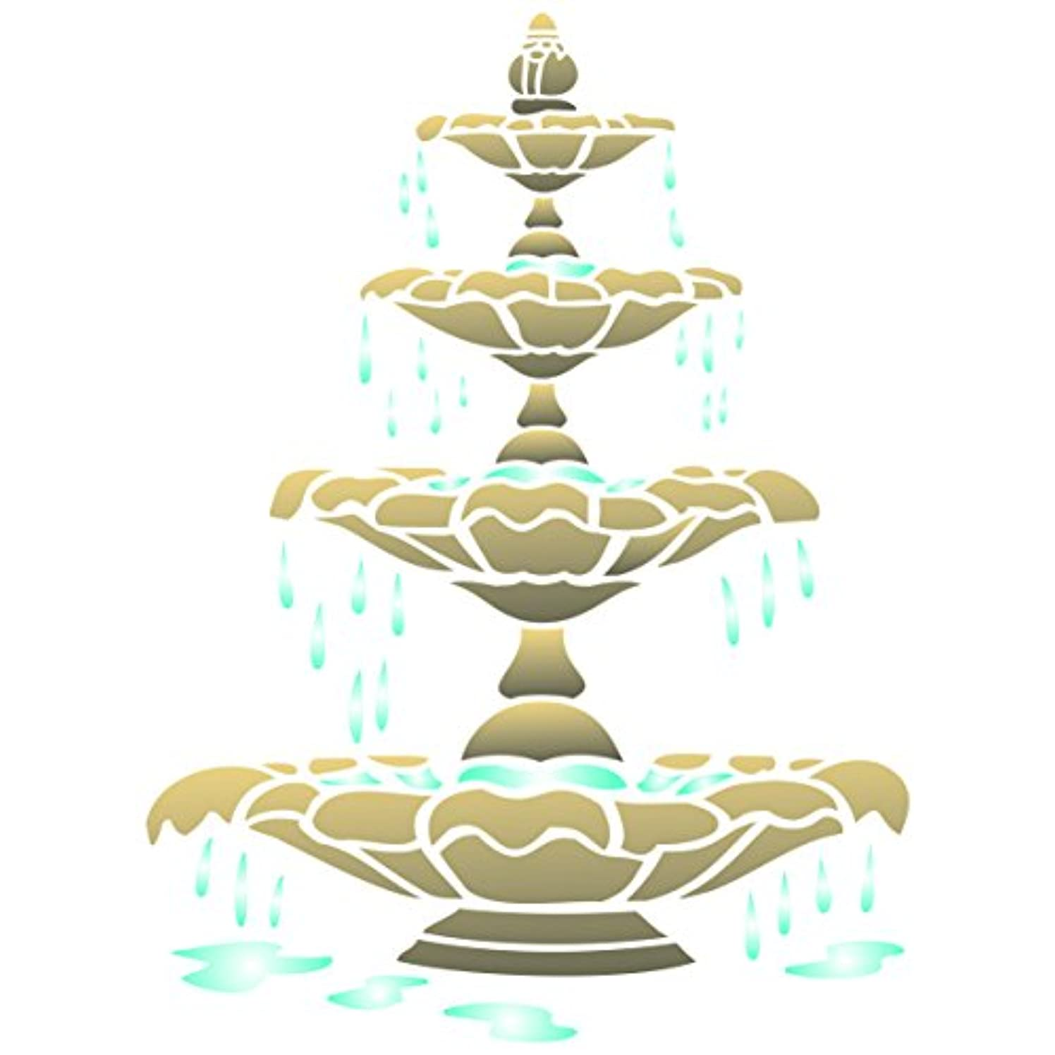 Fountain Stencil - 6.5 x 8.5 inch (S) - Reusable Architectural Outdoor Indoor Wall Stencils for Painting - Use on Paper Projects Walls Floors Fabric Furniture Glass Wood etc.