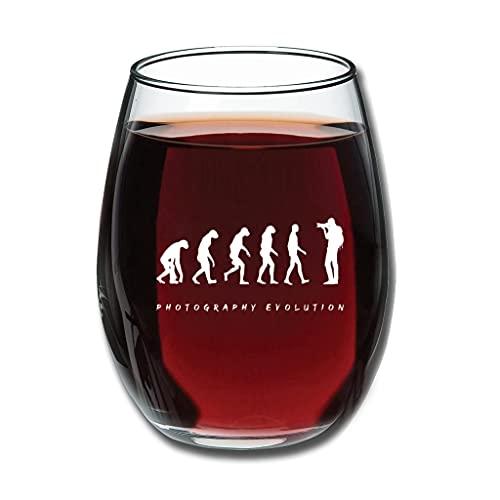 BTJC88 Stemless Fotografie Evolution - Copas de vino grabadas (350 ml), color blanco