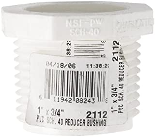 """Charlotte Pipe Reducer Bushing Mpt X Fpt 1 """" X 3/4 """" White Schedule 40 Pvc"""