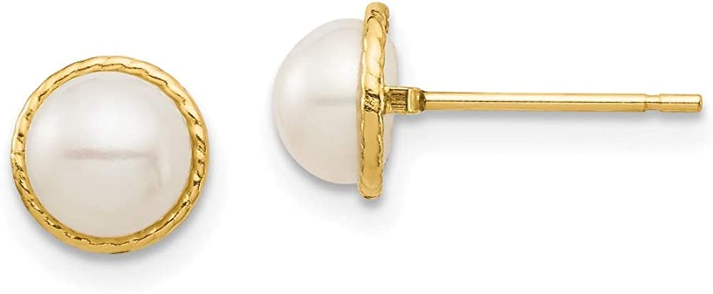 14K Madi K 5-6mm White Button Freshwater Cultured Pearl Post Earrings 6.18mm 6.17mm style SE2961