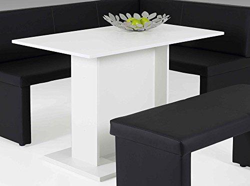 lifestyle4living Esstisch in Weiß, 108x68 cm, Säulengestell | Esszimmertisch im modernen Stil mit rechteckiger Tischplatte