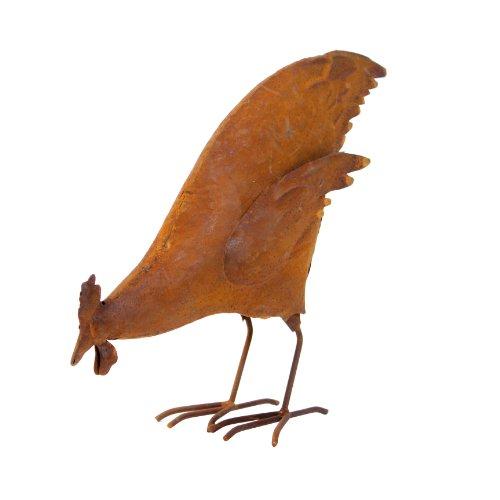 Cadix DEC201641 roestige picken kippen/kip, tuindecoratie 17 cm, bruin