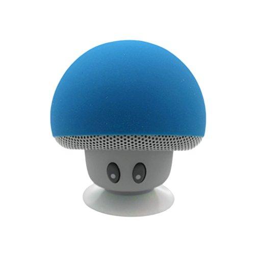 Gogogo Mini Drahtlos Bluetooth Lautsprecher Pilz Stil mit eingebautem Mikrofon Saugnapf für Smartphone iPad Tablet Laptop (blau)