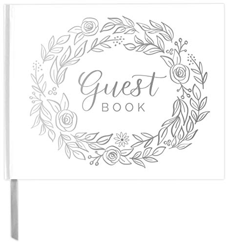 "bloom daily planners Wedding Guest Book (120 Pages) - Lined Sign-in Registry Guestbook & Keepsake - Hard Cover with Silver Foil, Gilded Edges and Bookmark - 7"" x 9"