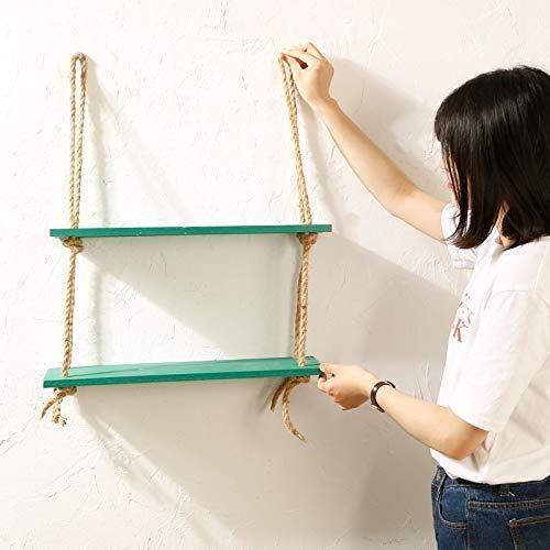 Vintage Shabby Chic Draairek met 2 niveaus met touw, met touw, touw, rustieke wandplank, meerdere verdiepingen, opbergrek, opslag voor thuis (kleur: natuur) Groen