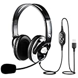USB Headset with Microphone Noise Cancelling, Stereo Computer Headphones with Volume Control & Mute Button, Corded Wired Office Headsets for Call Center, Buisness, Work, Skype, Zoom, Dragon Voice