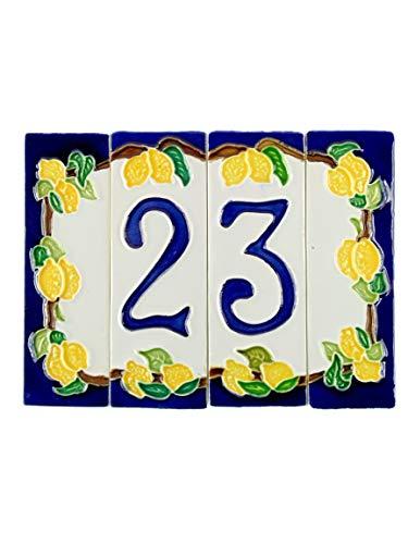 Keramikhausnummern mit Zitronenmotiv, Keramikobjekt im Freien von Hand gefärbt nlp 2 Maße: H12cm, Gesamtbreite 16cm