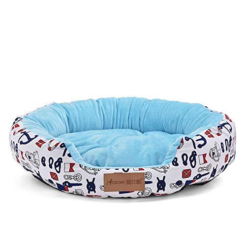 KDXBCAYKI bedrukt kattentoilet voor huisdieren rond Cudddle Nest Chaise Lounge Hoekbank Dog Relaxants Pet Supplies Afneembare afdekking, M, Blauw