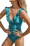 CUPSHE Mujer Traje de Baño Volantes Escote en V Monokinis Traje de baño de una Pieza Azul M