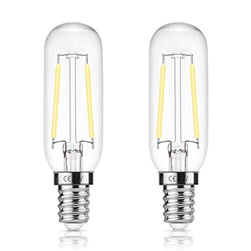 DORESshop E14 LED Leuchtmittel für Dunstabzugshaube, 2W Dunstabzugshaube lampe, T25 150LM Edison Glühlampe, Ersetzt 15 Watt, Kaltes Weiß 6000K, Nicht Dimmbar, Glühbirne für Dunstabzugshaube, 2er-Pack