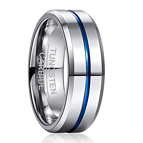 NUNCAD Tungsten Ring Blue Grooved Steel Color for Men Women Promise Band Comfort Fit Size Z½