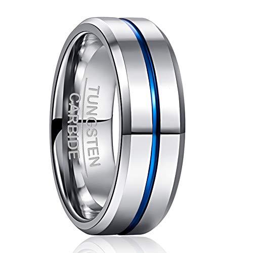 NUNCAD Partner Ring Herren Damen Wolfram Ringe Silber + Blau Schmuck Ring für Hochzeit, Verlobung Größe 61 (21)