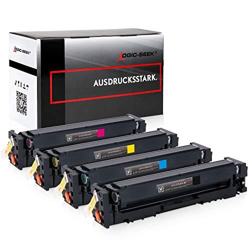4 Logic Seek Toner kompatibel mit HP CF540X CF541X CF542X CF543X fur Color Laserjet Pro M254nw M254dw MFP M280nw M281fdn M281fdw 203X