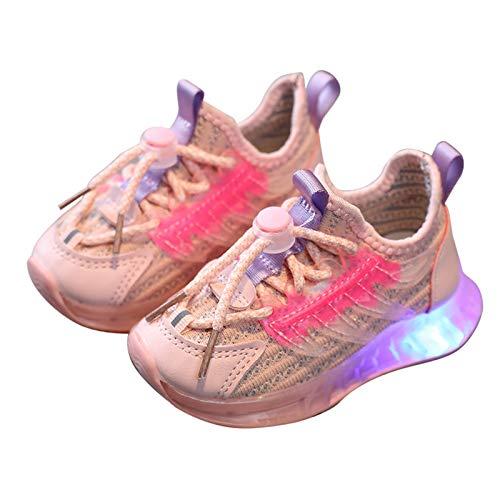 Jimmkey Scarpe Flash LED per Bambini Scarpe Sportive per Bambini con Luci (Rosa, 22)