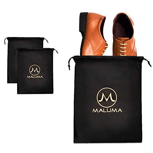 Maluma ® 2 x Premium Schuhsack in Schwarz, Reise Koffer Schuhtasche für Business, Sneaker und Sportschuhe, Damen und Herren Schuhbeutel Set atmungsaktiv, Aufbewahrungsbeutel mit Zugband, 34 x 46 cm