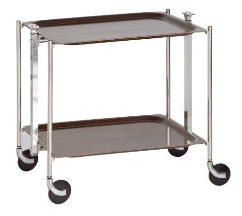 PLATEX - 500250MBWG - Textable - Wengé - La Table Roulante - Pliante - Montants Chromés