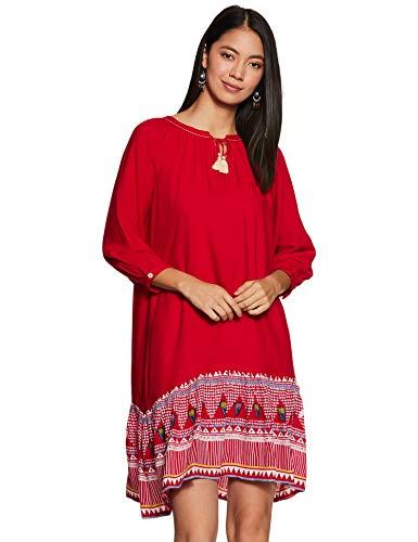 global desi Women's Rayon a-line Knee-Long Dress (AW18GU002DRRYREDL_Red_L)