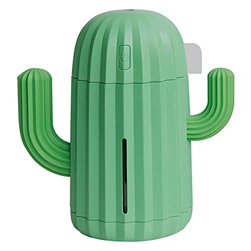 Difusor De Aceite Esencial 340Ml Usb Humidificador De Aire De Aire Ultrasónico Cactus Led Humidificador De Luz Aromaterapia Esencial Difusor De Aceite Mini Purificador De Aire Para El Hogar-Verde
