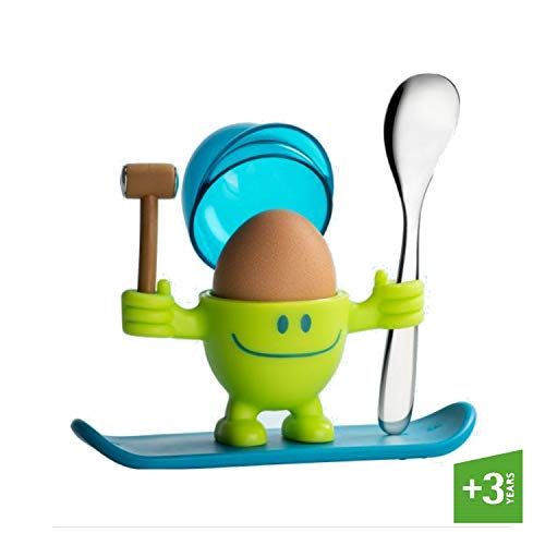 WMF McEgg Eierbecher mit Löffel, Kunststoff, Cromargan Edelstahl poliert, spülmaschinengeeignet, lemongreen