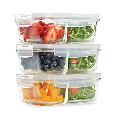 Fit & Fresh Divided Glass Containers, 3-Pack, Two Compartments, Set of 3 Containers with Locking Lids, Glass Storage, Meal Prep Containers with Airtight Seal
