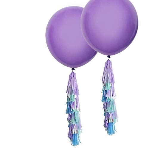 Fonder Mols 2pcs 36 inch Giant Purple Round Latex Balloons with Purple Blue Mint Silver Tassels Garland for Mermaid Party Hanging Decorations